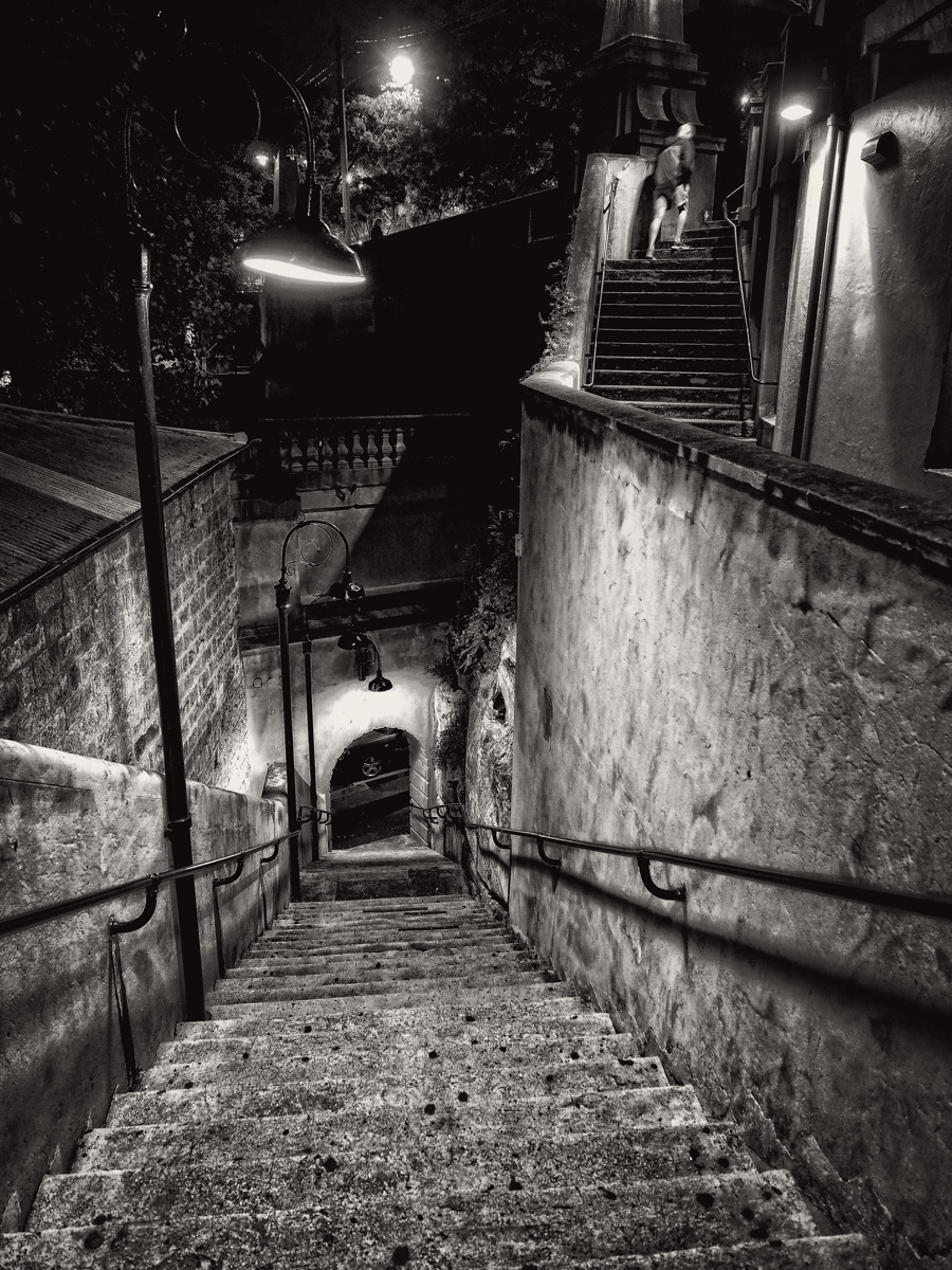 Stairs at Argyle Cut, The Rocks, Sydney. Olympus OM-D E-M5MkII, 12-40mm f2.8, 12mm @ f2.8, ISO 1600, 1/10sec handheld.