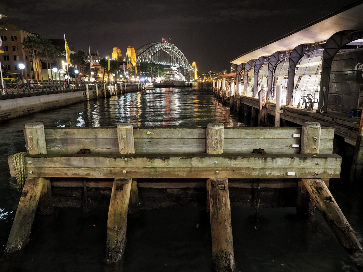 End of the line, Circular Quay Ferry Terminal. Olympus OM-D E-M5MkII, 12-40mm f2.8, 12mm @ f2.8, ISO 1600,  0.4sec handheld.